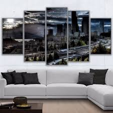 canvas hd prints poster wall art living room abstract pictures 5 piece cloudy seattle sunset landscape painting home decor frame in painting calligraphy  on seattle wall art prints with canvas hd prints poster wall art living room abstract pictures 5