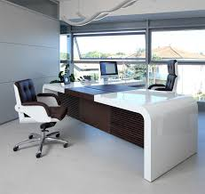 design office desks. High Gloss White Chief Executive Desks With A Contrasting Leather And Dark Oak Modesty Panel Shown Design Office I