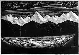 ilration of a man sleeping in a canoe