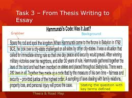 warm up why are written laws important tuesday wednesday  5 task 3 from thesis writing to essay background grabber stating the question key terms defined thesis road map