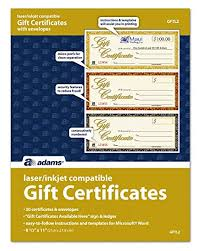 Gift Certificate Word Template Free Best Amazon Adams Gift Certificates LaserInkjet Compatible 48Up