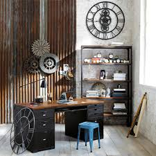 industrial office design. Charming Industrial Vintage Office Interior Accessories Design Ideas Also Wood Floor And Rustic Shelves As Well Brick Wall Plus Classic Workspace Table