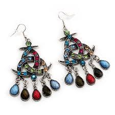 antique silver multicoloured crystal chandelier earrings 8cm length
