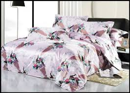 silk pink pea bird print bedding sets king size queen full twin quilt duvet cover bed in a bag sheets bedspreads bedsheets in bedding sets from home