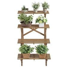 Flower Display Stand For Sale 100 Tier Wood Slat Plant Rack Indoor Outdoor Garden Display Stand 59