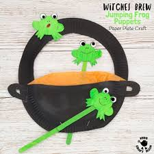 Free Printable Template Witches Cauldron Frog Puppets Kids Craft Room