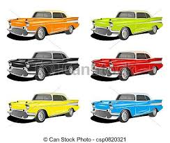 Clipart Of Colorful Classic Cars An Illustration Of