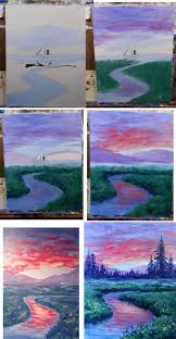 colorful painting idea dawn on the meadow process step by step how to