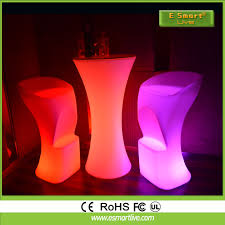 Glow Furniture Modern Pe Plastic Bar Table Rechargeable Multi Color Light Glow