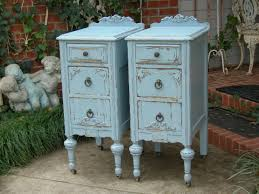 shabby chic nightstand. CUSTOM ORDER Pair Of Shabby Chic NIGHTSTANDS Bedside Tables White Aqua Blue Antique Distressed Bedroom Furniture 89900 Via Etsy With Nightstand