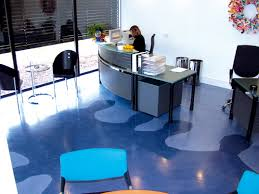 industrial office flooring. Industrial Flooring Ideas Created This Eclectic Light And Dark Blue Floor Design Located In An Office