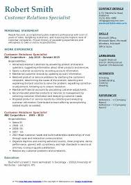 Customer Relations Specialist Resume Samples Qwikresume