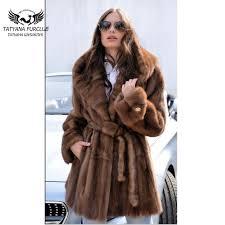 tatyana 2018 new arrival real mink fur coats 80 cm long mink fur coat with big hood and belt coffee fashion warm fur jackets d190111205 down jackets womens