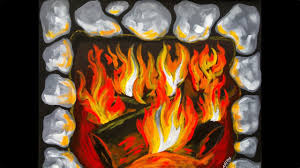How to paint Fire and a FIREPLACE Beginner Acrylic painting ...
