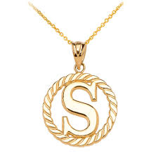 gold boutique rope circle letter s pendant necklace in 9ct gold