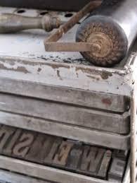 wood type case letters crafts flea market decorating ink roller