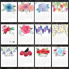 2017 printable fl calendar desk calendar 2017 flower calendar fl watercolor wall calendar