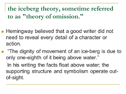 ernest hemingway and a farewell to arms ppt video online the iceberg theory sometime referred to as theory of omission
