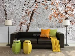 Fotobehang Posters Op Maat Sneeuw Bomen Artpainting4youeu