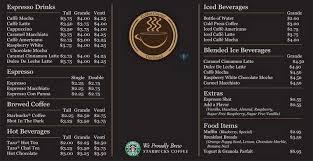 starbucks coffee menu. Modren Menu Starbucks Coffee Menu With B