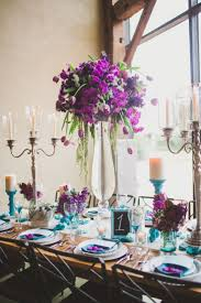 Decoration Beautiful Purple Flower Arrangement Wedding Centerpieces  Decoration White Table Runner Classic Candle Holder Blue Napkin Wine Glass  White Candle ...