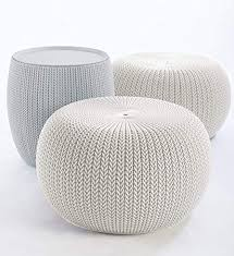 White Knit Pouf