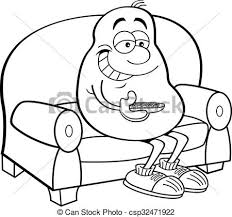 couch clipart black and white. cartoon potato sitting on a couch. - csp32471922 couch clipart black and white