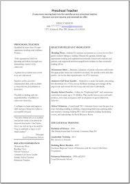 Example Nursery Teacher Resume Picture Of Printable Pre School