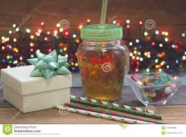 Glass Present Box Lights A Festive Still Life With A Glass Clear Cup Of Tea With A