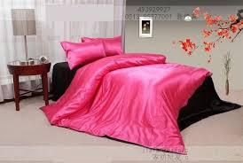 Hot Pink black silk satin bedding set king size queen quilt duvet ... & Hot Pink black silk satin bedding set king size queen quilt duvet cover bed  in a Adamdwight.com