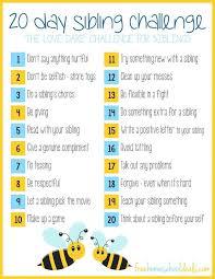 Free Printable 20 Day Sibling Challenge Siblings Day