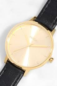 nixon kensington leather gold watch