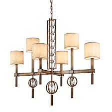 celestial 6 light rectangular chandelier in bronze with a crinkle fabric shade glass diffuser and crystal spheres kichler kl celestial6