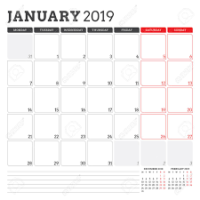 monday sunday calendar calendar planner for january 2019 week starts on monday printable