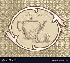 vintage tea cup vector. Unique Vector On Vintage Tea Cup Vector O