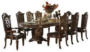 vendome round top table set 7 piece vendome cherry finish wood double pedestal dining