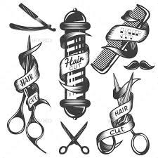 dresser clipart black and white. set of hair salon vintage labels dresser clipart black and white