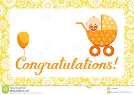 Newborn Congratulation Card Congratulations New Baby Greeting Card English Vector Stock