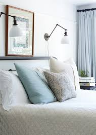 Reading light sconces over bed