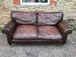 Dark Brown Leather Laura Ashley Kingston Sofa FREE DELIVERY 🚚   eBay