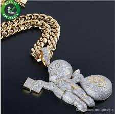 whole iced out chains pendant designer necklace hip hop jewelry mens cuban link gold luxury diamond bling cz rapper chain cartoon brand charms necklace