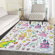 princess anti skid area rug bundle of girls kids collection fairytale fantasy characters castles accessories door mat increase 5 x6 multicolor