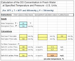 dissolved oxygen saturation in water calculator spreadsheet screenshot