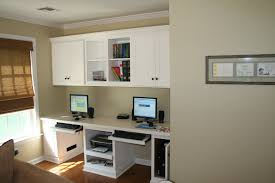 home office for 2. Heavenly Custom Wall Mounted White Cabinet Over Computer Double Desk And Pull Out Keybord Shelf As Decorate Modern Grey Home Office Designs For 2 A