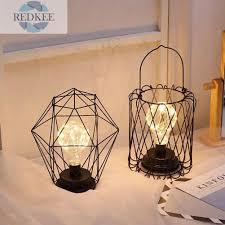 Đèn Led Để Bàn Hình Học Bằng Sắt Rèn Dùng Trang Trí Phòng Ngủ - Đèn bàn