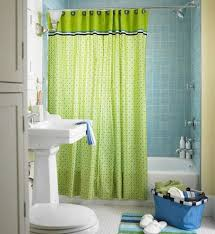 bathroom, Cute Lime Green Accents Curtain For Small Bathroom Design Idea  Using Blue Tiles Wall