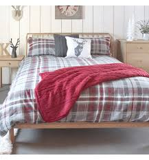 skye check brushed cotton grey red quilt cover set single