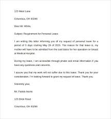 Leave of absence letter for personal reasons