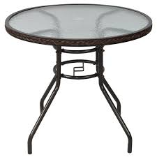 outsunny patio rattan round table all