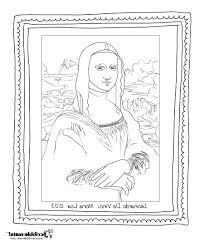 Mona Lisa Coloring Page Printable Kids Coloring Mona Lisa Coloring